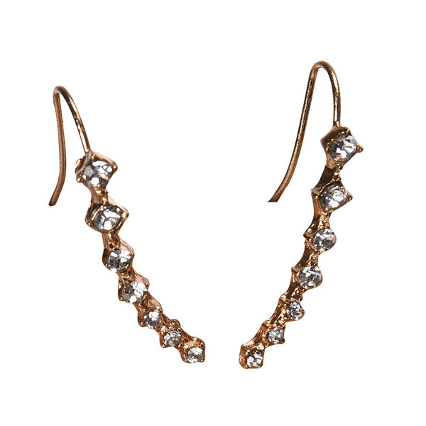 Fashion Crystal Rhinestone Gold Earrings *Stunning Gold Ear Hook Jewelry