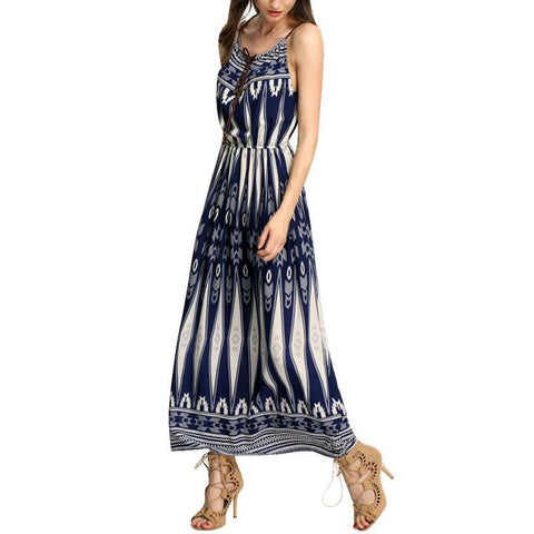 Spring / Summer Women Fashion -  Elegant Sexy Boho Strapless Sleeveless Long Beach Ladies Sundress