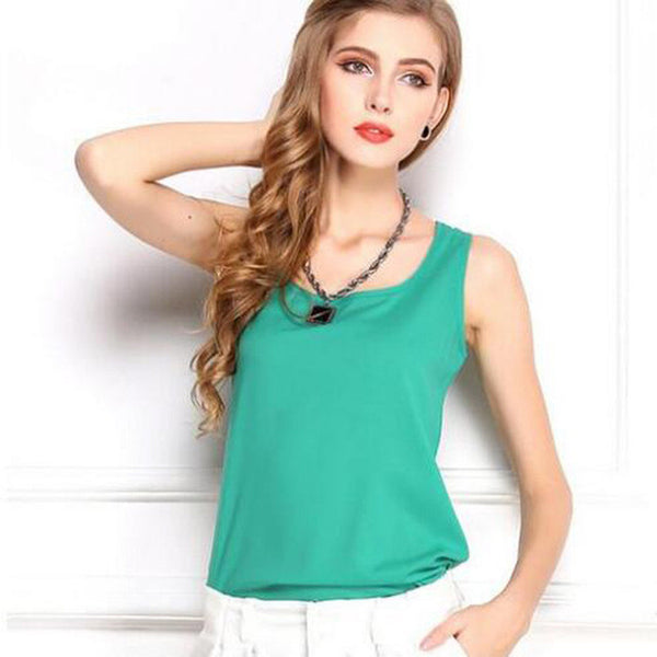SLEEVELESS CHIFFON TOPS