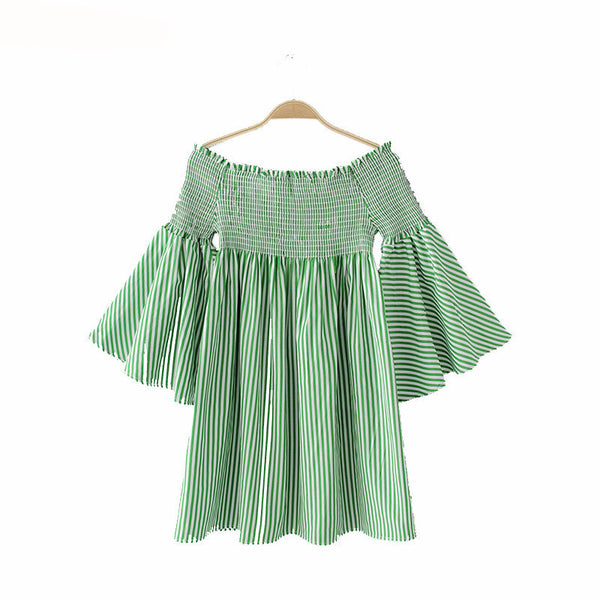 Women Sexy Slash Neck Off Shoulder Flare Sleeve Striped Pleated Mini Dress