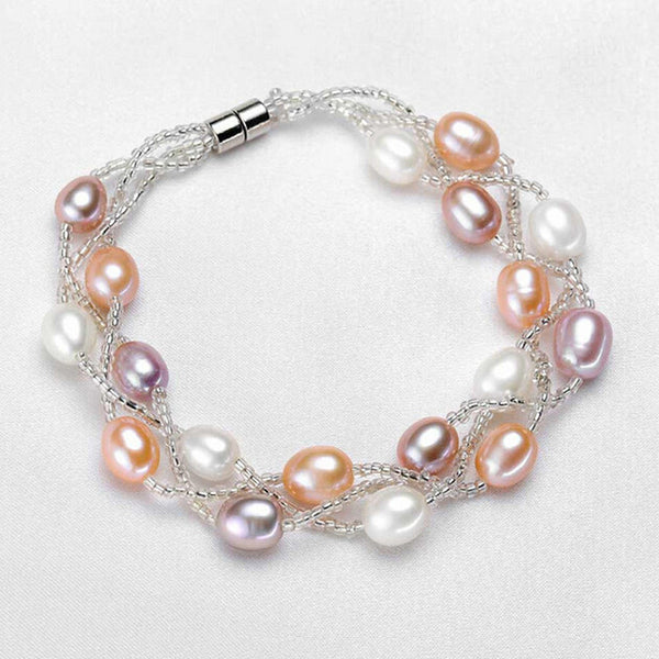 High Quality Small Crystal Freshwater Pearls Strand Bracelets