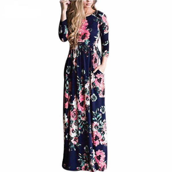2017 Summer Bohemian Floral Print High Waist Long Sleeve Maxi Dress