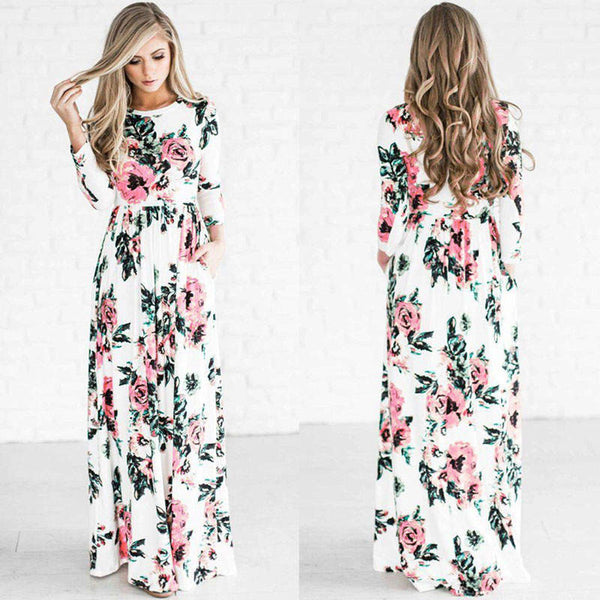 2017 Summer Bohemian Floral Print High Waist Long Sleeve Maxi Dress-White Front and Back