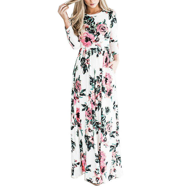 2017 Summer Bohemian Floral Print High Waist Long Sleeve Maxi Dress-White