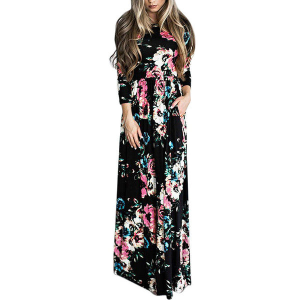 2017 Summer Bohemian Floral Print High Waist Long Sleeve Maxi Dress-Black
