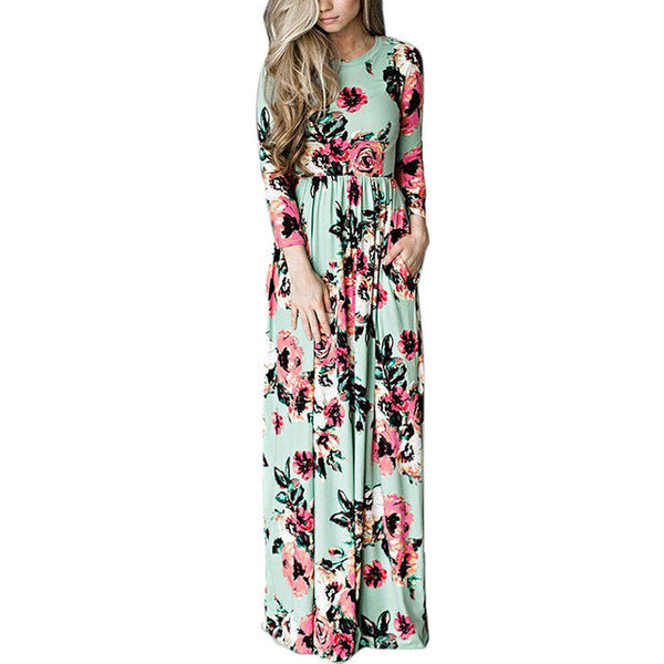 2017 Summer Bohemian Floral Print High Waist Long Sleeve Maxi Dress-Green