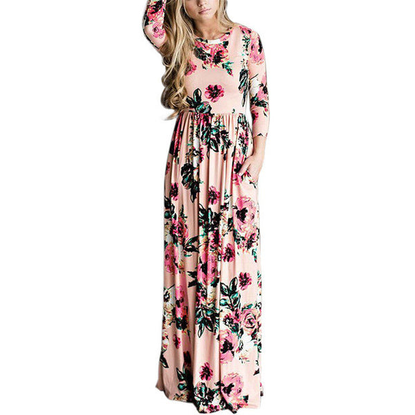 2017 Summer Bohemian Floral Print High Waist Long Sleeve Maxi Dress-Pink