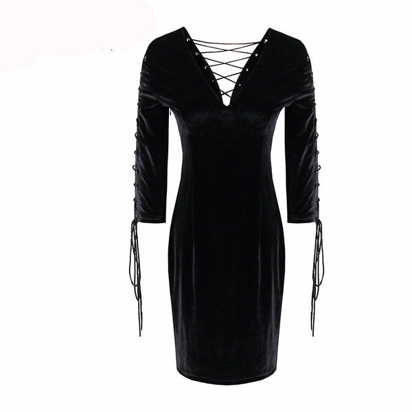 2017 Spring / Summer Women Fashion - Sexy V-Neck 2 Sides Wear Straight Rosetic Gothic Black Hollow Prom Party Dress - Back