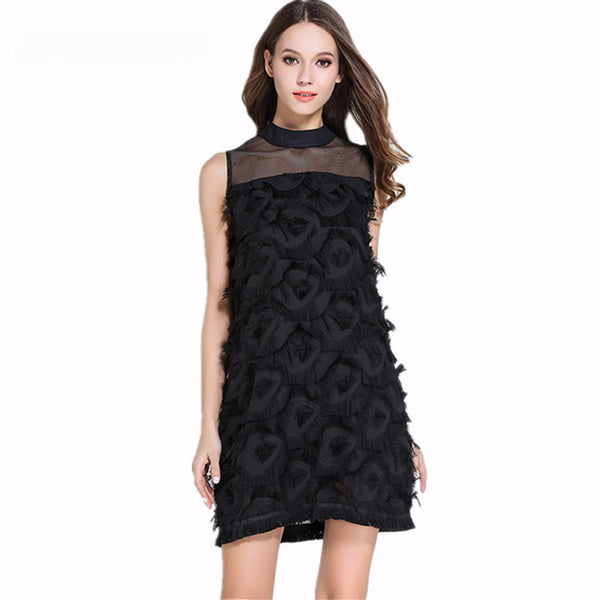 BLACK TASSEL MINI DRESS