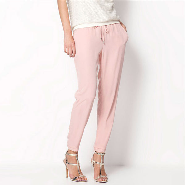 Women Fashion Slim Cut Elastic Waist Chiffon Pants *Summer Hot Sale Solid Color Office Lady Pants