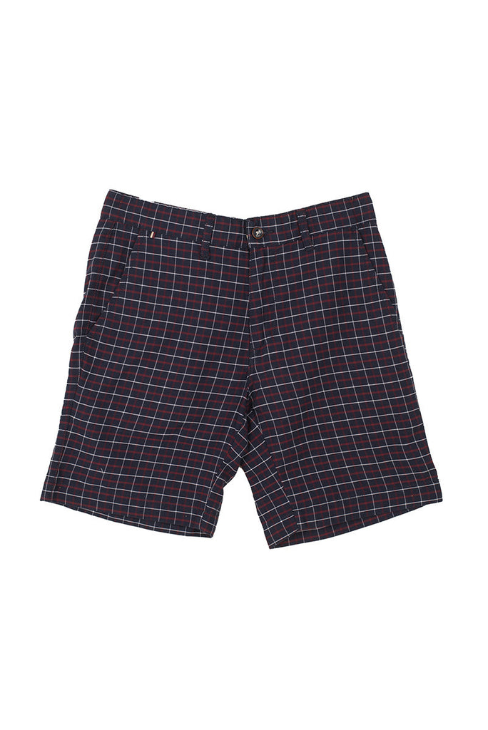 Blue Summer shorts With Red Check
