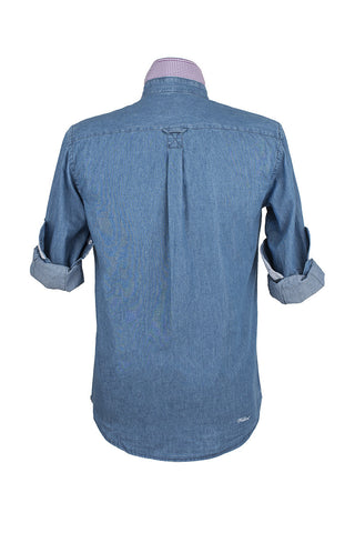 Denim Long Sleeved Shirt With White Cuff