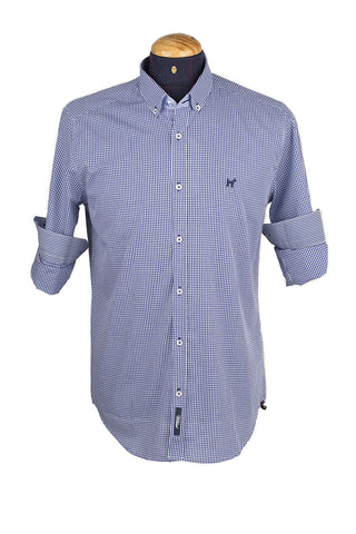 Long Sleeve Check Marine Blue Shirt