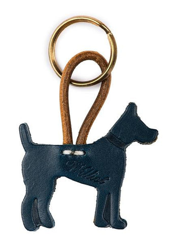 Blue Leather Williot Dog Key Ring