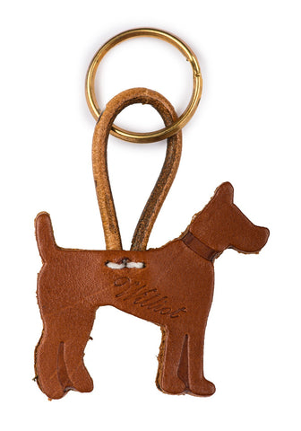 Brown Leather Williot Dog Key Ring LLA 0003