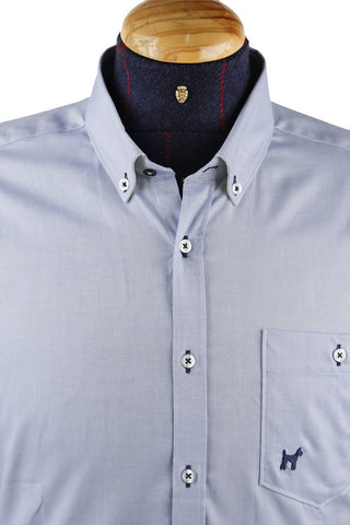 Light Blue Oxford Long Sleeve Shirt With Navy Detail