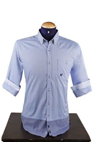 Light Blue Oxford Long Sleeve Shirt With Navy Detail CAM 0025