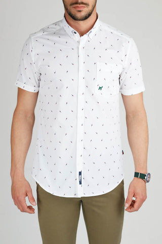 Short Sleeve White Print Shirt