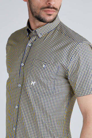 Blue and Yellow Check Slim Cut Short Sleeve Shirt