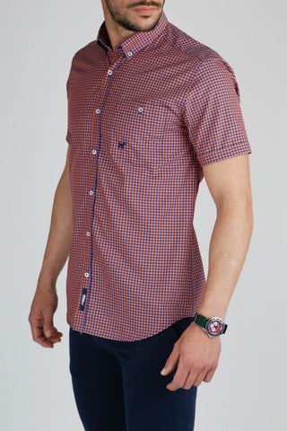 Blue and Orange Check Slim Cut Short Sleeve Shirt CAM 0028