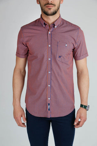 Blue and Orange Check Slim Cut Short Sleeve Shirt