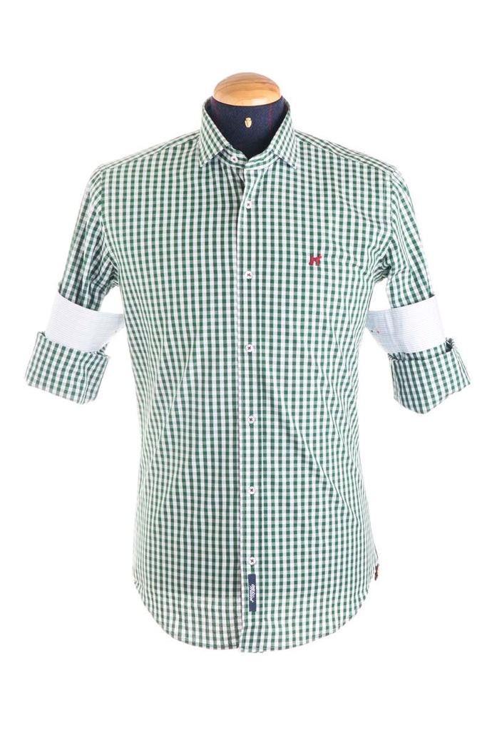 Pure Cotton Green And White Checked Shirt