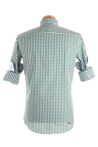 Pure Cotton Green And White Checked Shirt - CAM 0030