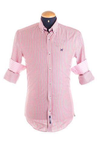 Pure Cotton Red And White Striped Shirt - CAM 0031