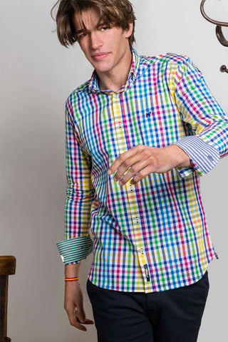 Multi Blue And Yellow Checked Summer Shirt
