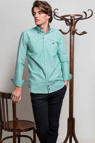 Emerald Green Striped Shirt
