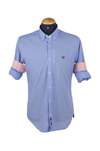 Aqua Blue Oxford Long Sleeve Striped Shirt CAM 0024