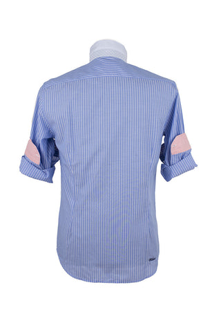Aqua Blue Oxford Long Sleeve Striped Shirt With Pink Cuffs