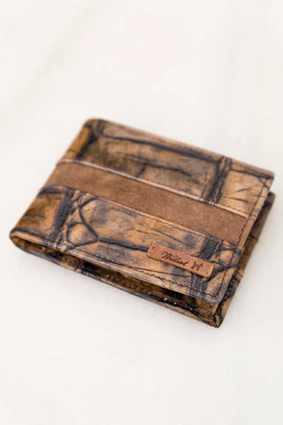 Croc Leather And Suede Wallet