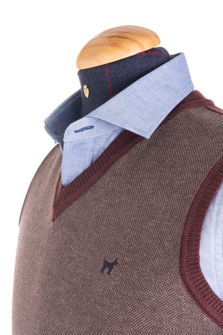Grey / Red Woolen Vest