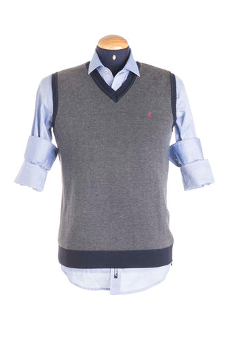 Grey / Blue Woolen Vest