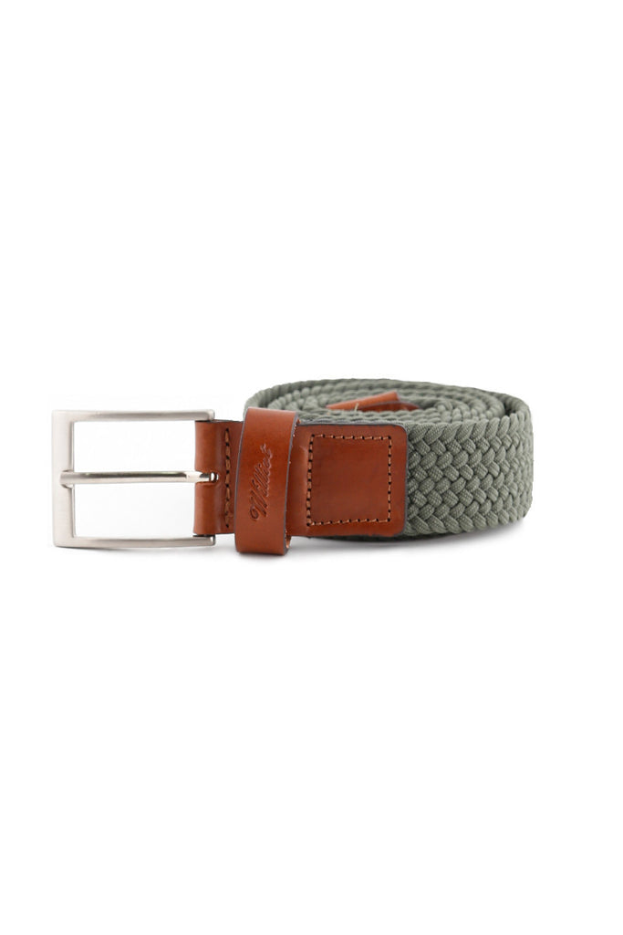 Khaki Leather Braided Belt