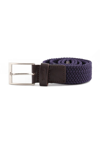 Marine Blue Leather Braided Belt CIN 0010