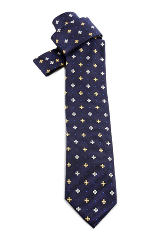 Navy Tie With Yellow and White Flowers COR 0008