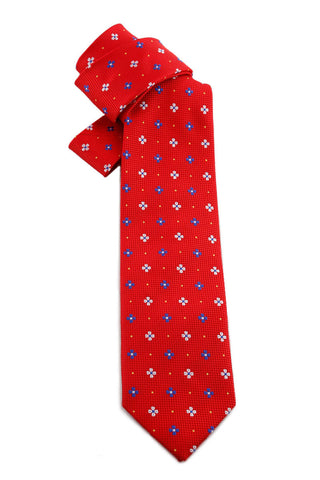 Scarlet Red Blue and White Flower Tie COR 0008