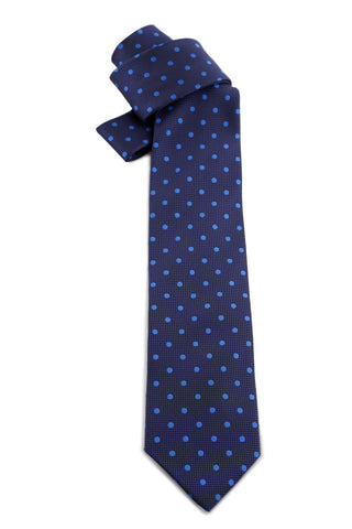 Navy Tie With White Dots COR 0008