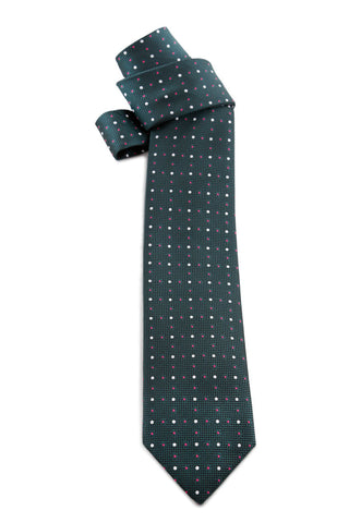 Dark Green Spotted Pink and White Tie COR 0008
