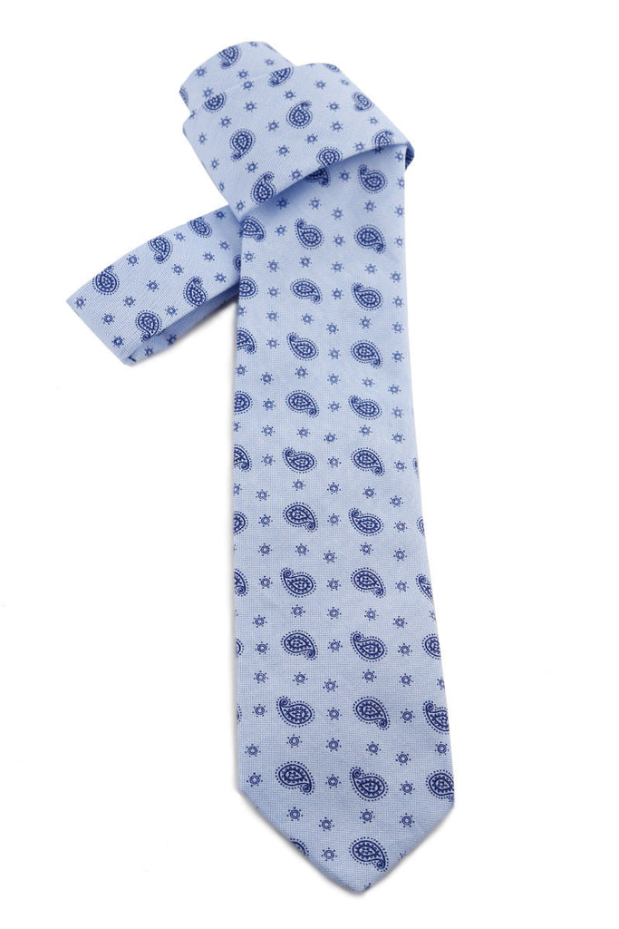 Light Blue Tie with Navy Detail COR 0009