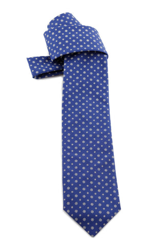 Blue Tie With White Flowers COR 0009