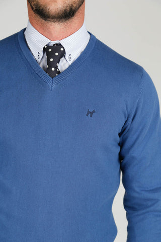 Blue V neck Jumper JER 0001