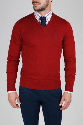V Neck Dark Red Jumper
