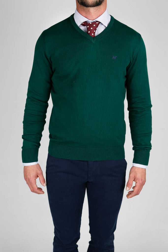 V Neck Dark Green Jumper