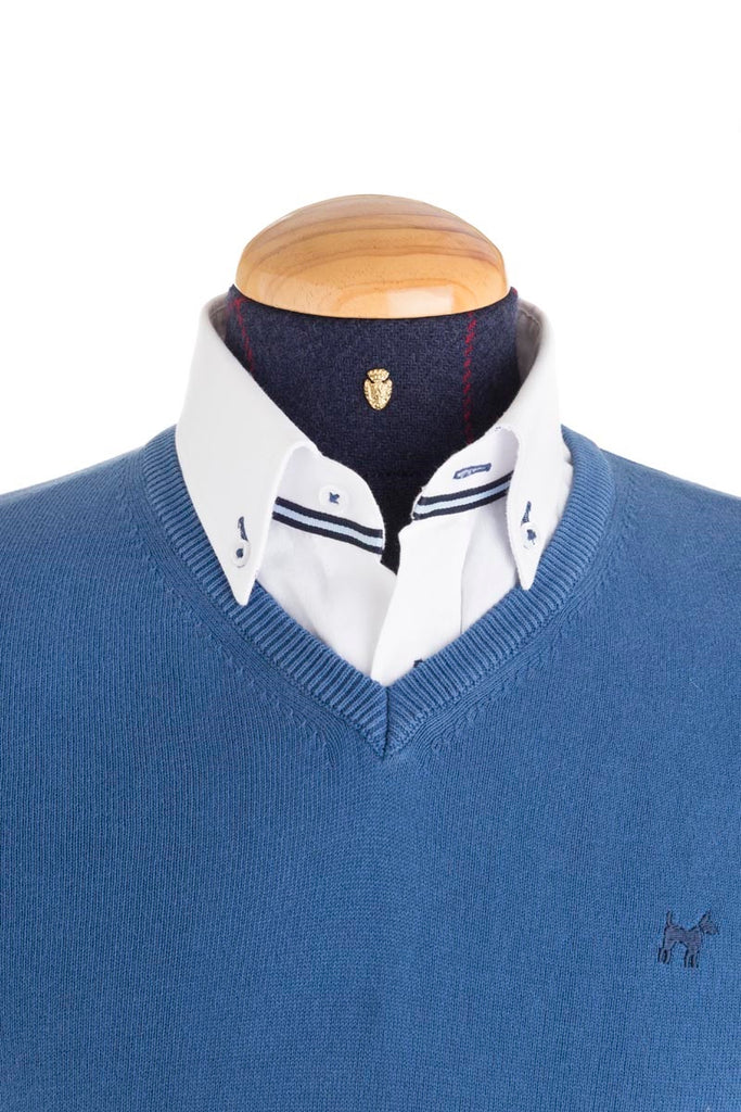 Cotton And Cashmere Mix Blue Jumper