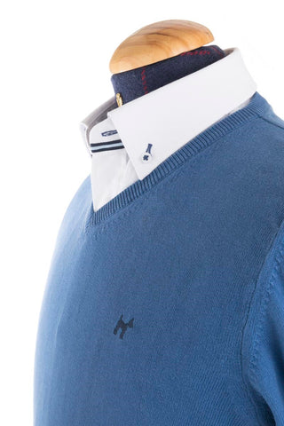 Cotton And Cashmere Mix Blue Jersey - JER 0001