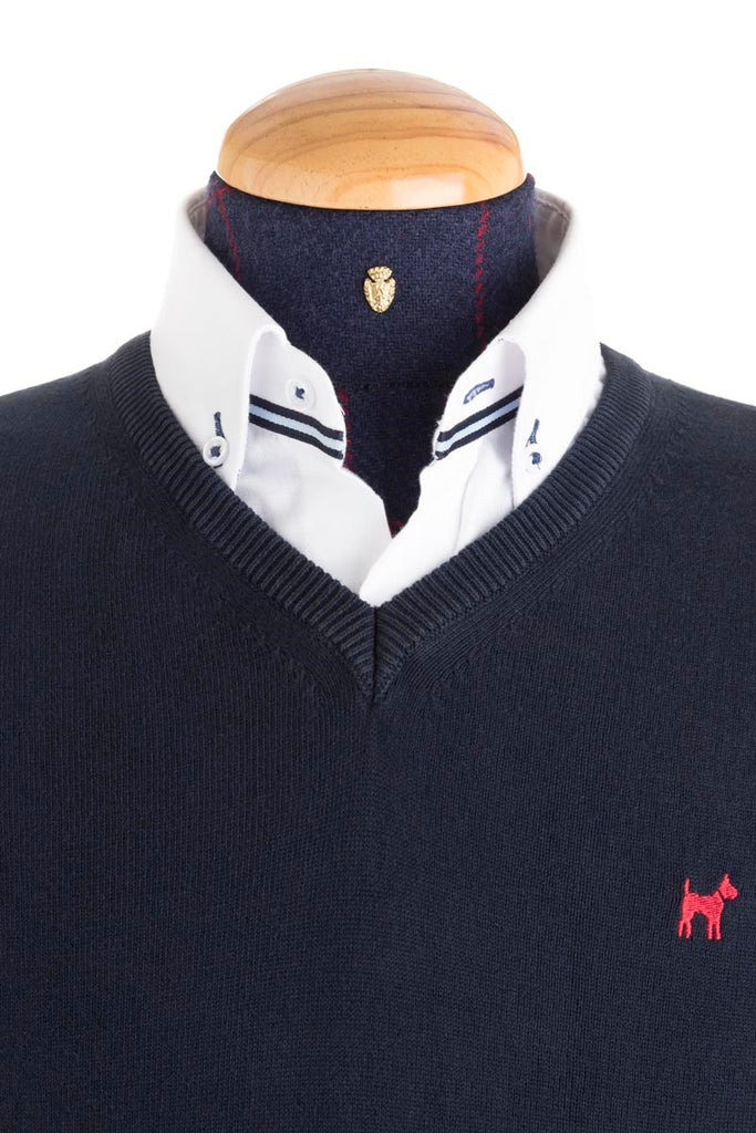 Cotton And Cashmere Blend Navy Jumper - JER 0001
