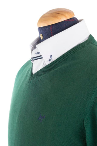 Cotton And Cashmere Green V-neck Jumper- JER 0001